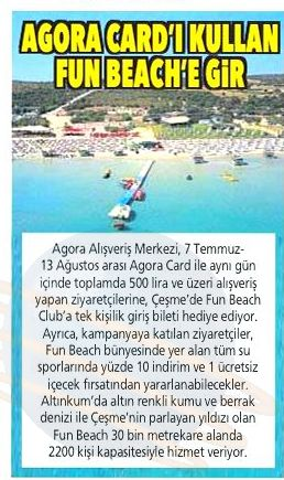 AGORA CARD'I KULLAN FUN BEACH'E GİR!